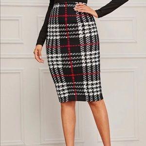 Plaid Print Pencil Skirt